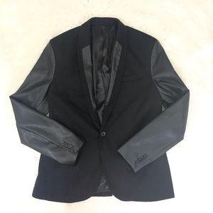 Zara black men blazer with faux leather sleeves XL